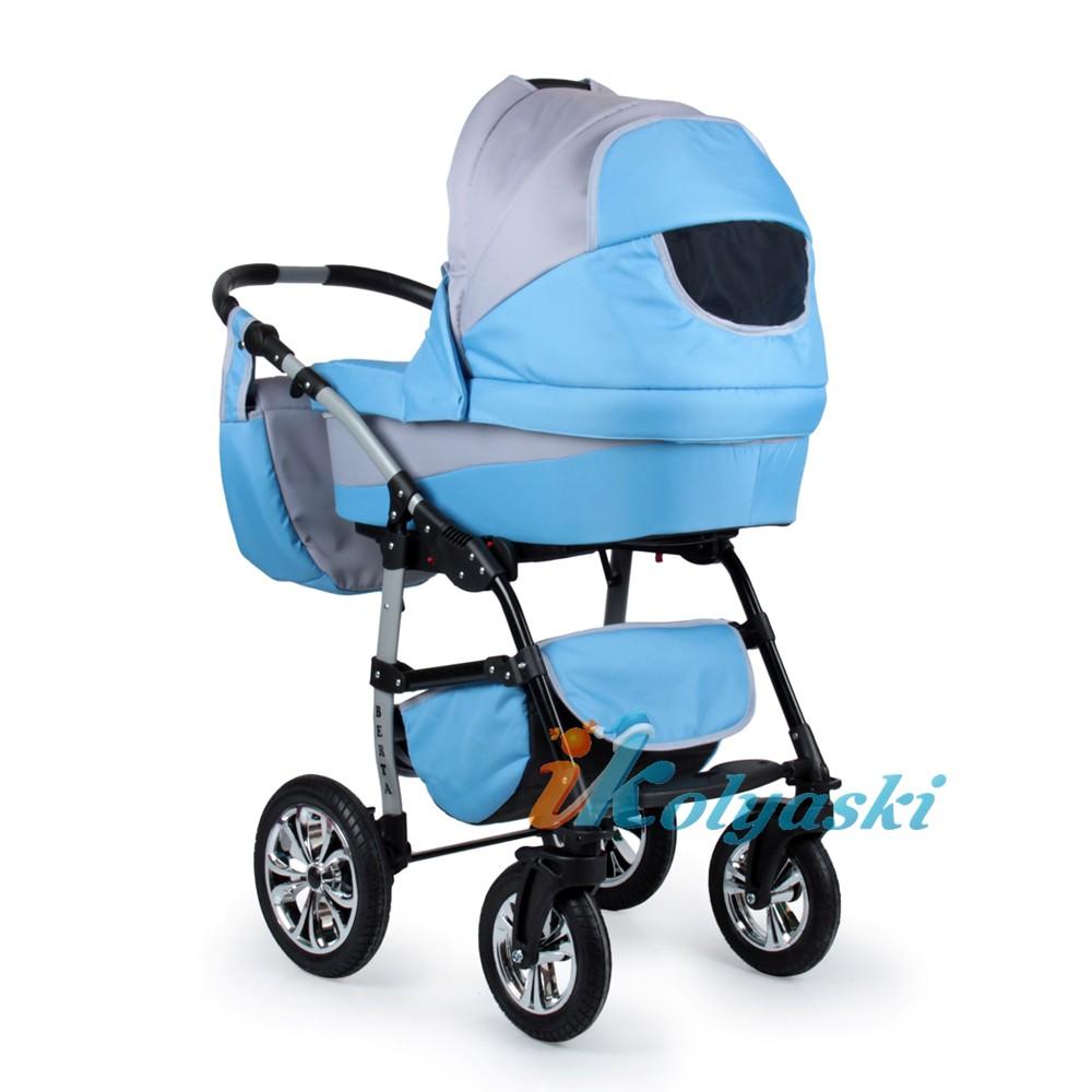 Детская коляска для новорожденных 2 в 1 на поворотных колесах, модульная коляска с автокреслом-переноской Alis Berta, Алис Берта. В колпаке есть сектор для проветривания в жаркую погоду
