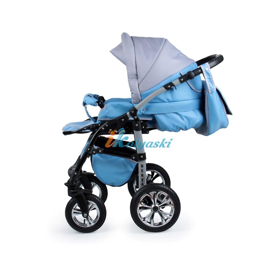 Детская коляска для новорожденных 2 в 1 на поворотных колесах, модульная коляска с автокреслом-переноской Alis Berta, Алис Берта. Прогулочный блок полночтью раскладывается в лежачее положение, удобен в эксплуатации от 6 месяцев до 3-х лет