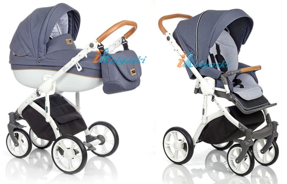 Модная детская коляска 3 в 1 ROAN BASS SOFT LE, цвет DENIM (JEANS)  BLACK COGNAC (серый джинс)