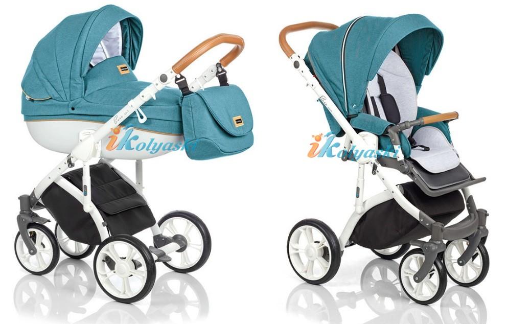 Модная джинсовая коляска 3 в 1 на поворотных колесах Roan Bass Soft LE цвет OCEAN COGNAC
