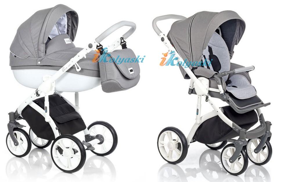 Модная детская коляска на поворотных колесах 3 в 1 Roan Bass Soft LE , цвет   DENIM (JEANS) GREY WHITE