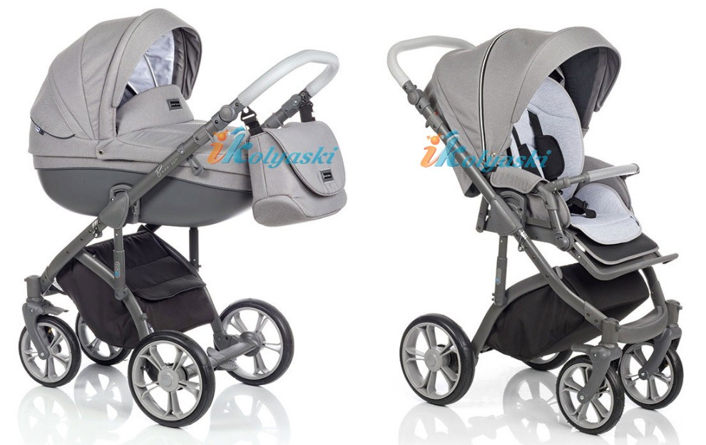 Модная детская коляска 3 в 1 на поворотных колесах ROAN BASS SOFT цвет  DENIM (JEANS) GREY-GRAPHIT
