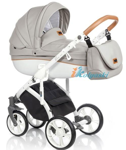 Модная детская коляска на поворотных колесах 3 в 1 Roan Bass Soft LE , новая расцветка  - цвет   ECO-LEATHER ISLAND STONE