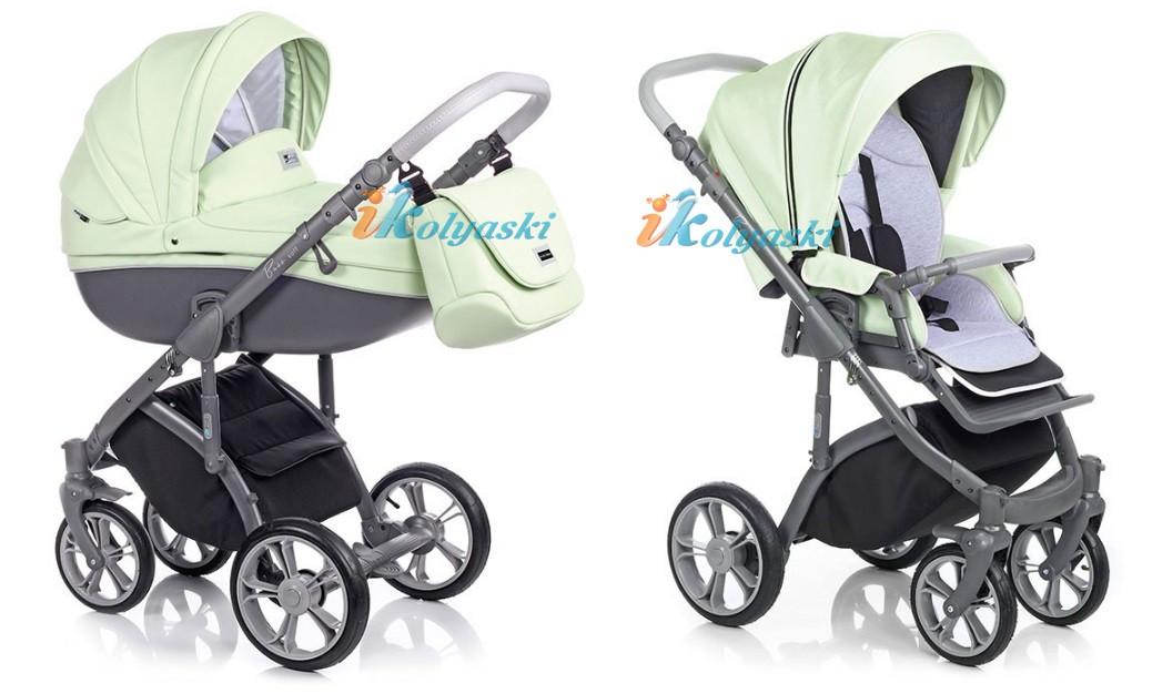 Самая модная детская коляска для новороженных из эко-кожи, коляска 3 в 1 на поворотных колесах Roan Bass Soft цвет Pastel Mint