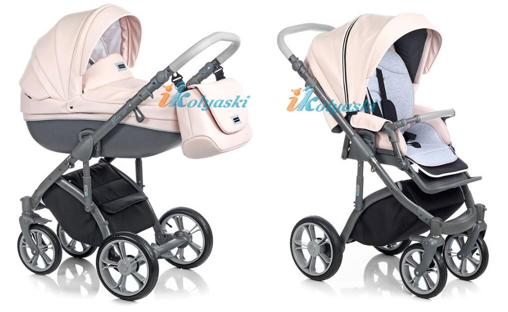 Самая модная детская коляска для новороженных из эко-кожи, коляска 3 в 1 на поворотных колесах Roan Bass Soft цвет Romantic Pink