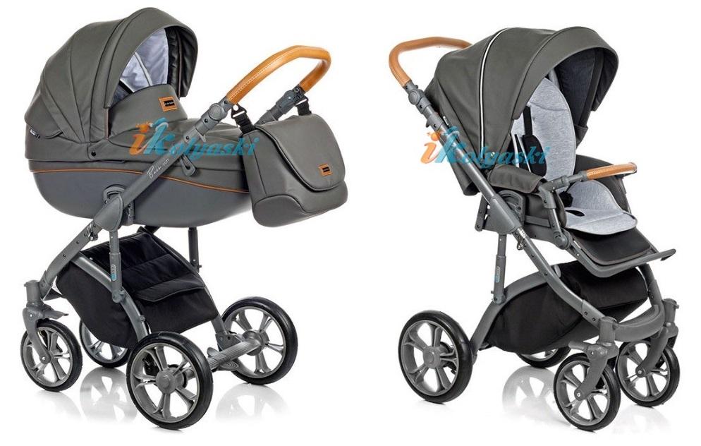 Самая модная детская коляска для новорожденных из эко-кожи, коляска 3 в 1 на поворотных колесах Roan Bass Soft цвет Shadow Grey