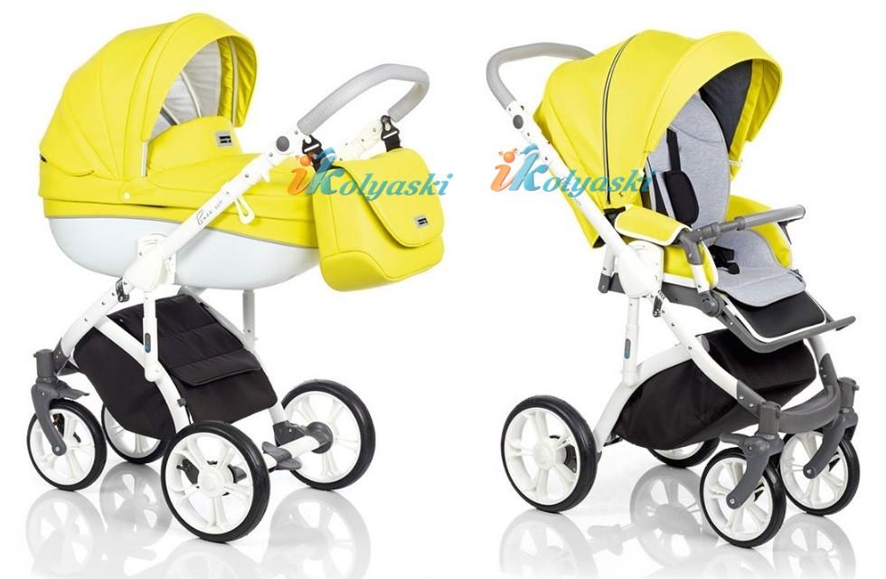 Самая модная детская коляска для новорожденных из эко-кожи, коляска 3 в 1 на поворотных колесах Roan Bass Soft LE цвет SUNNY LIME