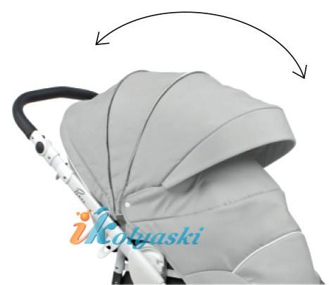 Огромный многопозиционный колпак в детской коляске Роан Басс Софт закрывает малыша в непогоду