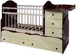 Детская кроватка-трансформер для новорожденных Сафаня МДФ Кошки-Мышки, кроватка с поперечным маятником и с пеленальным комодом, цвет венге + ваниль, ложе 120х60 - 170х60 см. Кроватка для новорожденных с маятником поперечного качания транмформируется потом в подростковую кровать с прикроватной тумбочкой с 3-мя ящиками.