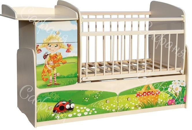 Детская кроватка-трансформер для новорожденных Сафаня Лужок МДФ, кроватка с поперечным маятником и с пеленальным комодом, ложе 120х60 - 170х60 см