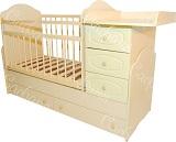 Детская кроватка-трансформер для новорожденных Сафаня МДФ Стандарт, артикул 02, кроватка с поперечным маятником и с пеленальным комодом, цвет клен