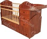 Детская кроватка-трансформер для новорожденных Сафаня МДФ Стандарт, артикул 02, кроватка с поперечным маятником и с пеленальным комодом, цвет орех таволато. Размер ложа 120х60 см, а затем, после трансформации 170х60 см.