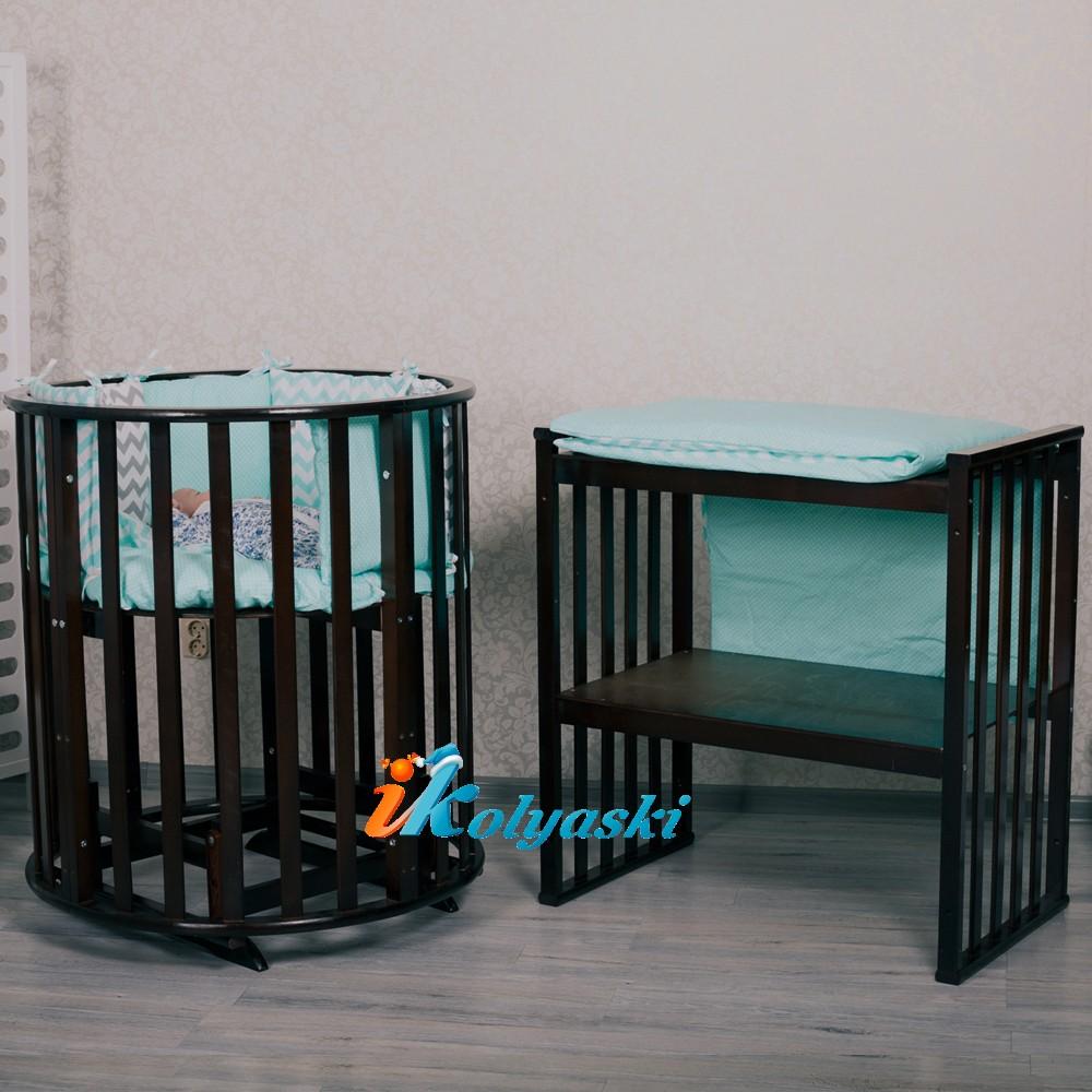 кроватка для новорожденных, кроватки новинки, круглые кроватки, овальные кроватки для новорожденных, овальная кроватка массив. овальная кроватка трансформер, овальная кроватка купить, купить круглую кроватку для новорожденного,  круглая кроватка, цвет шоколад