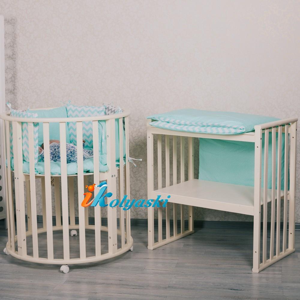 кроватка для новорожденных, кроватки новинки, круглые кроватки, овальные кроватки для новорожденных, овальная кроватка массив. овальная кроватка трансформер, овальная кроватка купить, купить круглую кроватку для новорожденного,  круглая кроватка, цвет ваниль