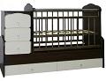 Детская кроватка-трансформер Ecobaby Алиса, кроватка для новорожденных с пеленальным комодом, подростковая кровать + письменный стол с ящиками, новинка 2015, цвет ВЕНГЕ + СЛОНОВАЯ КОСТЬ