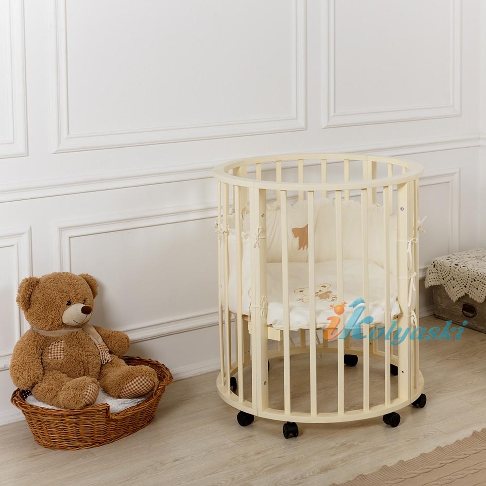 Детская круглая кроватка для новорожденных, круг-овал, кровать детская Incanto MIMI 7в1 , кровать, манеж, стол и 2 стула, спальное место круга люльки - 75х75 см; овала кровати - 125х75 см, цвет белый.   Детская круглая кроватка для новорожденных, кроватка круг-овал, кровать детская Incanto MIMI 7в1 , круглая кровать для новорожденных, овальная кровать для новорожденных, купить круглую кровать для новорожденных, круглая кроватка купить, круглая кроватка фото, круглая кроватка цена