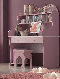 Рабочий компьютерный стол для девочки, письменный стол детский, серия Любимая Принцесса