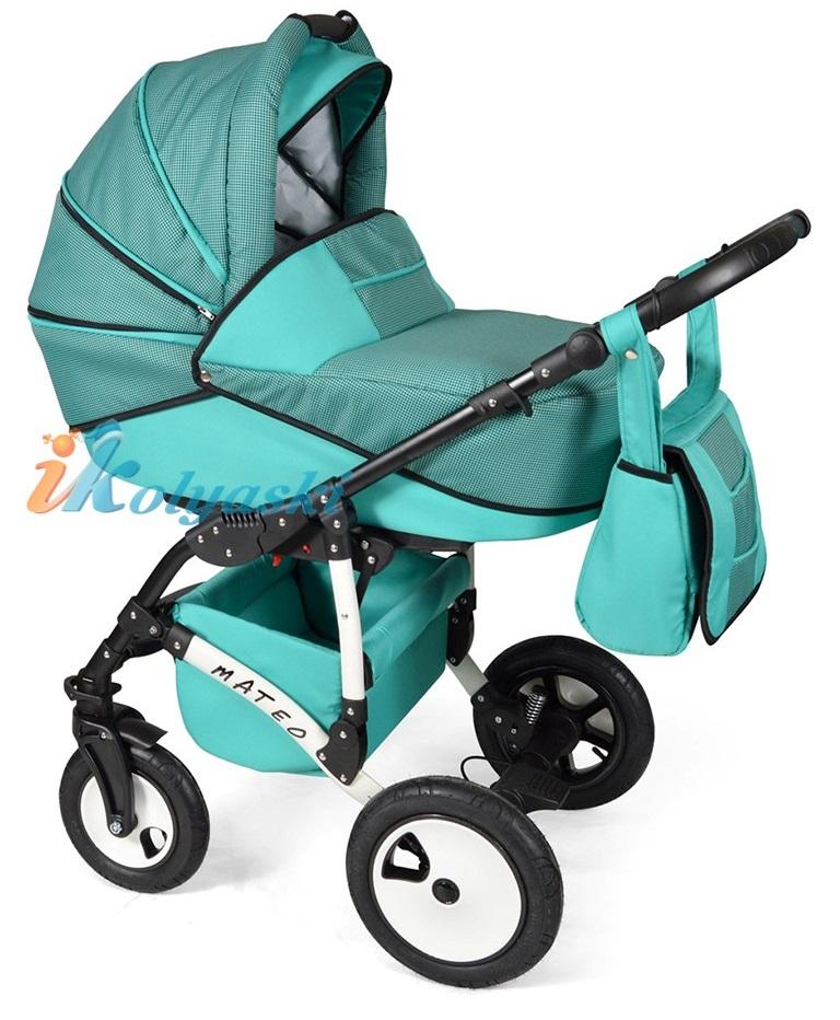 Детская модульная коляска для новорожденных, коляска с поворотными колесами Alis Mateo 17 2 в 1  с прогулочным блоком, коляска 2в1 Элис Матео, цвет МА 20