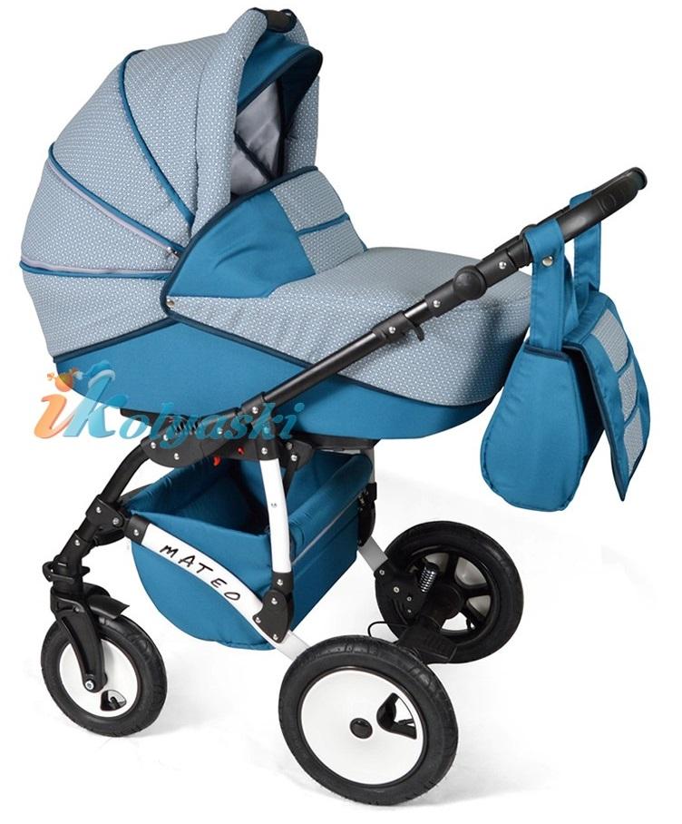 Детская модульная коляска для новорожденных, коляска с поворотными колесами Alis Mateo 17 2 в 1  с прогулочным блоком, коляска 2в1 Элис Матео, цвет МА 21
