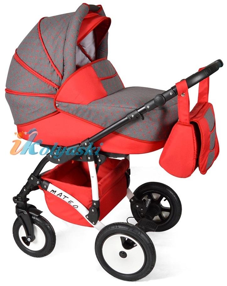 Детская модульная коляска для новорожденных, коляска с поворотными колесами Alis Mateo 17 2 в 1  с прогулочным блоком, коляска 2в1 Элис Матео, цвет МА 22