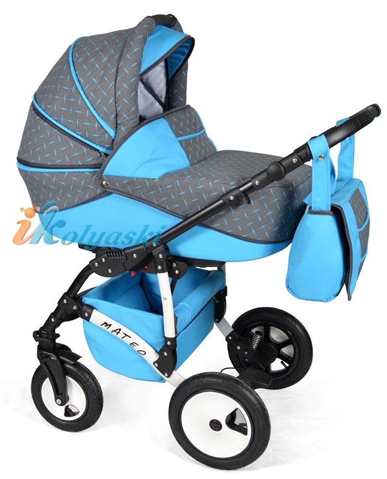 Детская модульная коляска для новорожденных, коляска с поворотными колесами Alis Mateo 17 2 в 1  с прогулочным блоком, коляска 2в1 Элис Матео, цвет МА 23