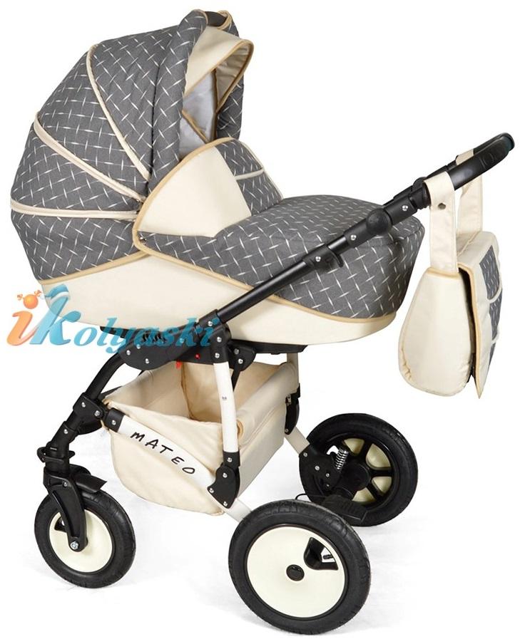 Детская модульная коляска для новорожденных, коляска с поворотными колесами Alis Mateo 17 2 в 1  с прогулочным блоком, коляска 2в1 Элис Матео, цвет МА 24