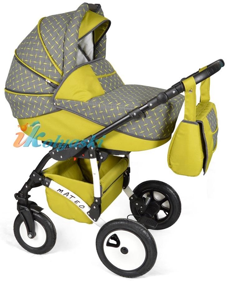 Детская модульная коляска для новорожденных, коляска с поворотными колесами Alis Mateo 17 2 в 1  с прогулочным блоком, коляска 2в1 Элис Матео, цвет МА 25
