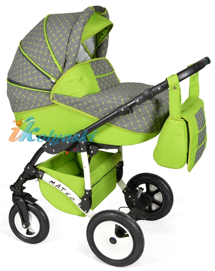 Детская модульная коляска для новорожденных, коляска с поворотными колесами Alis Mateo 17 2 в 1  с прогулочным блоком, коляска 2в1 Элис Матео, цвет МА 26