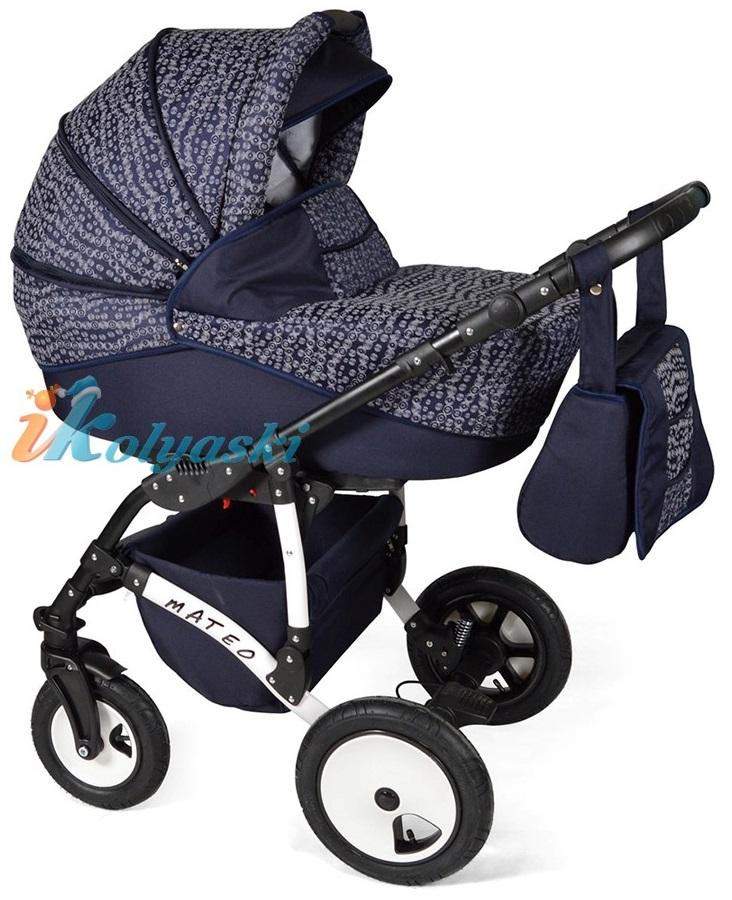 Детская модульная коляска для новорожденных, коляска с поворотными колесами Alis Mateo 17 2 в 1  с прогулочным блоком, коляска 2в1 Элис Матео, цвет МА 27