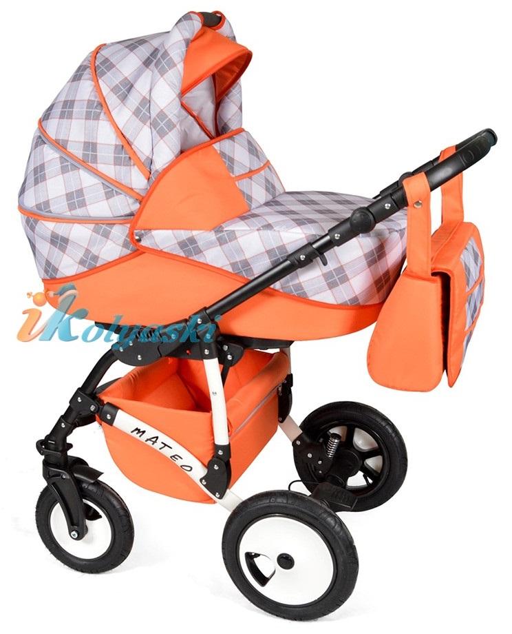 Детская модульная коляска для новорожденных, коляска с поворотными колесами Alis Mateo 17 2 в 1  с прогулочным блоком, коляска 2в1 Элис Матео, цвет МА 28