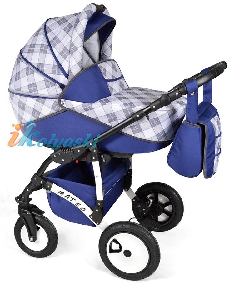 Детская модульная коляска для новорожденных, коляска с поворотными колесами Alis Mateo 17 2 в 1  с прогулочным блоком, коляска 2в1 Элис Матео, цвет МА 29