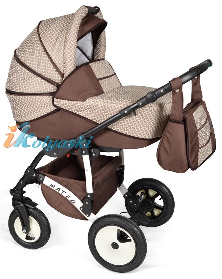 Детская модульная коляска для новорожденных, коляска с поворотными колесами Alis Mateo 17 2 в 1  с прогулочным блоком, коляска 2в1 Элис Матео, цвет МА 30