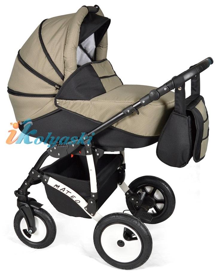 Детская модульная коляска для новорожденных, коляска с поворотными колесами Alis Mateo 17 2 в 1  с прогулочным блоком, коляска 2в1 Элис Матео, цвет МА 31