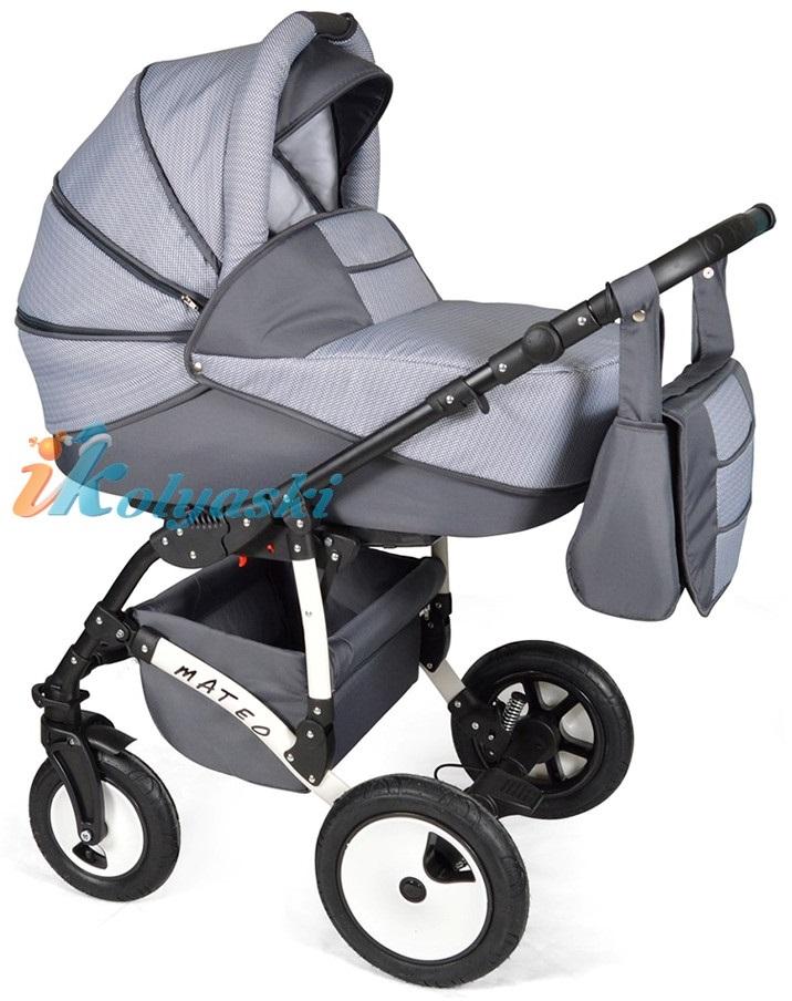 Детская модульная коляска для новорожденных, коляска с поворотными колесами Alis Mateo 17 2 в 1  с прогулочным блоком, коляска 2в1 Элис Матео, цвет МА 32