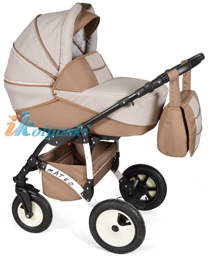 Детская модульная коляска для новорожденных, коляска с поворотными колесами Alis Mateo 17 2 в 1  с прогулочным блоком, коляска 2в1 Элис Матео, цвет МА 33