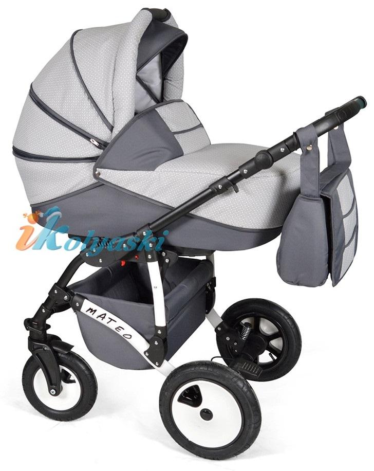 Детская модульная коляска для новорожденных, коляска с поворотными колесами Alis Mateo 17 2 в 1  с прогулочным блоком, коляска 2в1 Элис Матео, цвет МА 34