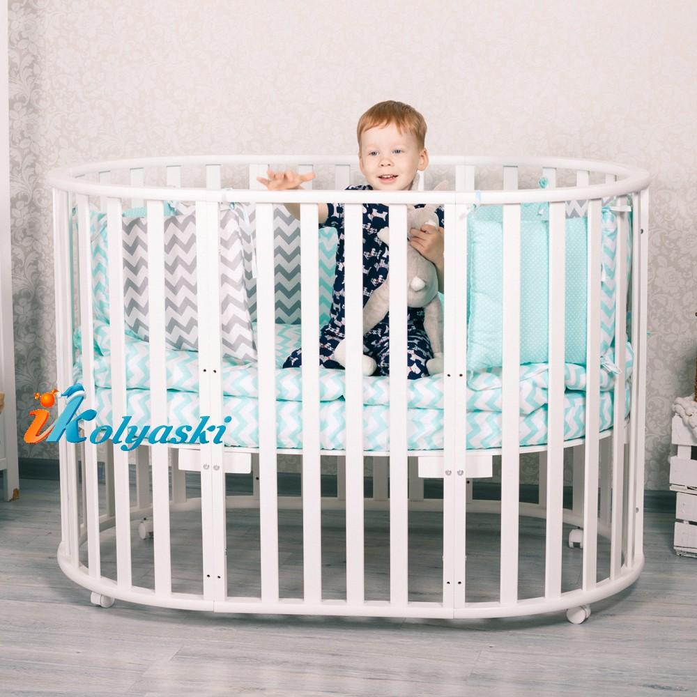 Детская кругло-овальная кроватка для новорожденных, кровать детская Nobelёv 7 в 1, размеры: люлька - 75х75 см; кроватка/манеж/диванчик - 125х75 см, цвет ваниль
