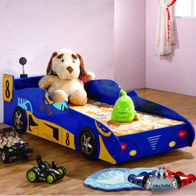 Американская детская спальня для мальчика, детская мебель с кроватью-машиной Формула-1, 190х90 см, артикул 350, 7 предметов, цвет синий, материал МДФ