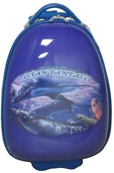 детский чемодан на колесах, детский чемодан на колесиках, Новинка, Детский чемодан Эгги на светящихся LED колесах, Дельфины, размер 16