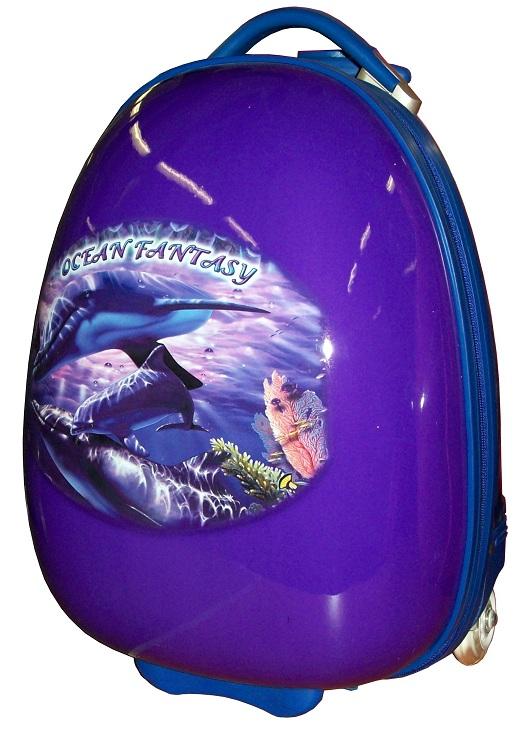 детский чемодан на колесах, детский чемодан на колесиках, Новинка, Детский чемодан Эгги на светящихся LED колесах Ocean Fantasy - Оушен Фэнтези Дельфины, размер 16