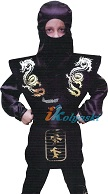 Детский карнавальный костюм ниндзя Смоука Мортал Комбат, костюм черного Ниндзя - персонажа компьютерной игры Мортал комбат, размер М,  на 7-10 лет, рост 128-134 см, фирма Карнавалия.