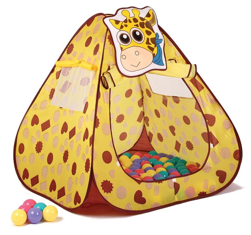 Детский игровой домик тент с шариками ЖИРАФ, 100 шариков, материал домика нейлон, размер домика 100х100х100 см, артикул LI511, подарочная упаковка, коробка.