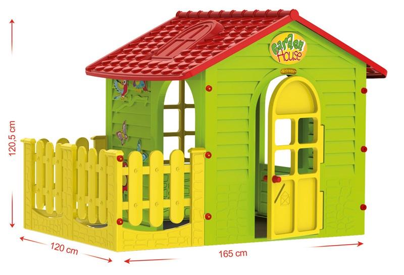 Детский пластиковый домик для дачи Mochtoys Садовый Домик с забором-палисадником,  размер 165х120х120,5 см, артикул 10839.   Детский пластиковый домик для дачи Mochtoys Садовый Домик с палисадником с красной крышей, детские игровые домики, детские пластиковые домики, детские домики для дачи, детские пластиковые домики для дачи, купить детский пластиковый домик, купить де
