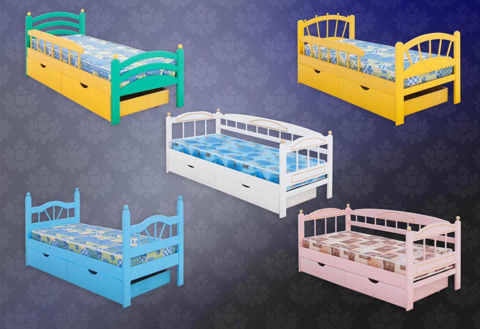 Отличительной особенностью данной мебели является ее экологичность и натуральность материала. Кровать полностью деревянная, изготавливается из массива сосны. Может быть выполнена в разных цветах.  Материал изготовления: массив дерева (массив сосны).  Детская кровать София с 2 выкатными ящиками, подростковая кровать, полутораспальная кровать, двуспальная кровать, фирма Меб-ЕГРА, размер и цвет на выбор
