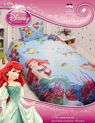 комплект детского постельного белья Дисней Русалочка Ариэль, полутороспальный, 100% хлопок, бязь