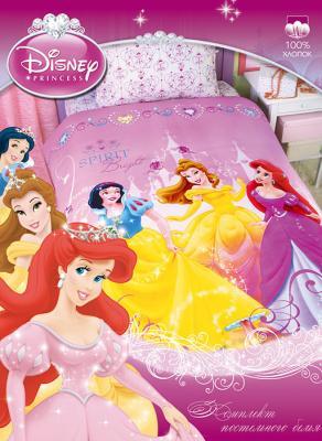 Одеяло зимнее детское полутороспальное Принцессы Disney, 100% хлопок, бязь,  наполнитель файбер (заменитель пуха), теплое детское одеяло, размеры 205х140 см