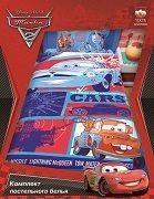Детское зимнее одеяло полуторное Тачки 2  Disney  Pixar, 100% хлопок, бязь, наполнитель файбер (заменитель пуха), теплое детское одеяло, размеры 205х140 см