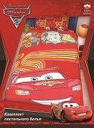 Детское зимнее деяло  полуторное Тачки 2 на красном Disney  Pixar, 100% хлопок, бязь,  наполнитель файбер (заменитель пуха) теплое детское одеяло, размеры 205х140 см