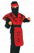 Детский карнавальный костюм Ниндзя Красный Дракон, на 4-6 лет,  рост 110-120 см, фирмы Snowmen артикул Е3390-1. В комплекте костюма Ниндзя:  рубаха, брюки, пояс, красный фартук-доспех с иероглифами, шапка-маска на голову, лента на голову
