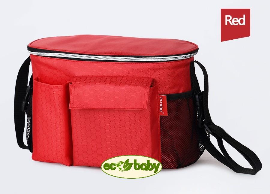 Термосумка для детской коляски, сумка для мамы на коляску Ecobaby, модель Insular, артикул ЕС-002, цвет Red - Красный.